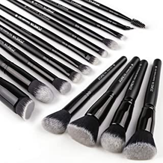 Zoreya Makeup Brushes 15Pcs Makeup Brush Set Premium Synthetic Kabuki Brush Cosmetics Foundation Concealers Powder Blush Blending Face Eye Shadows Black Brush Sets