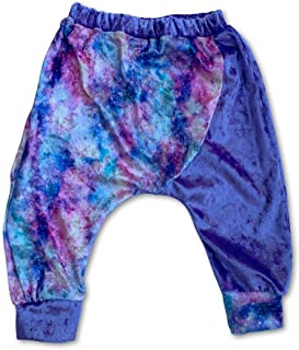 Sol Baby Lavender Crushed Velvet Galaxy Print 2-Tone Harem Pant