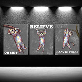 iKNOW FOTO Hang in There Wall Poster Lovely Cat Poster Funny Animal Decorative Painting Perfect Funny Motivational Quote for Home or Office Humorous Decor 12x16inchx3pcs