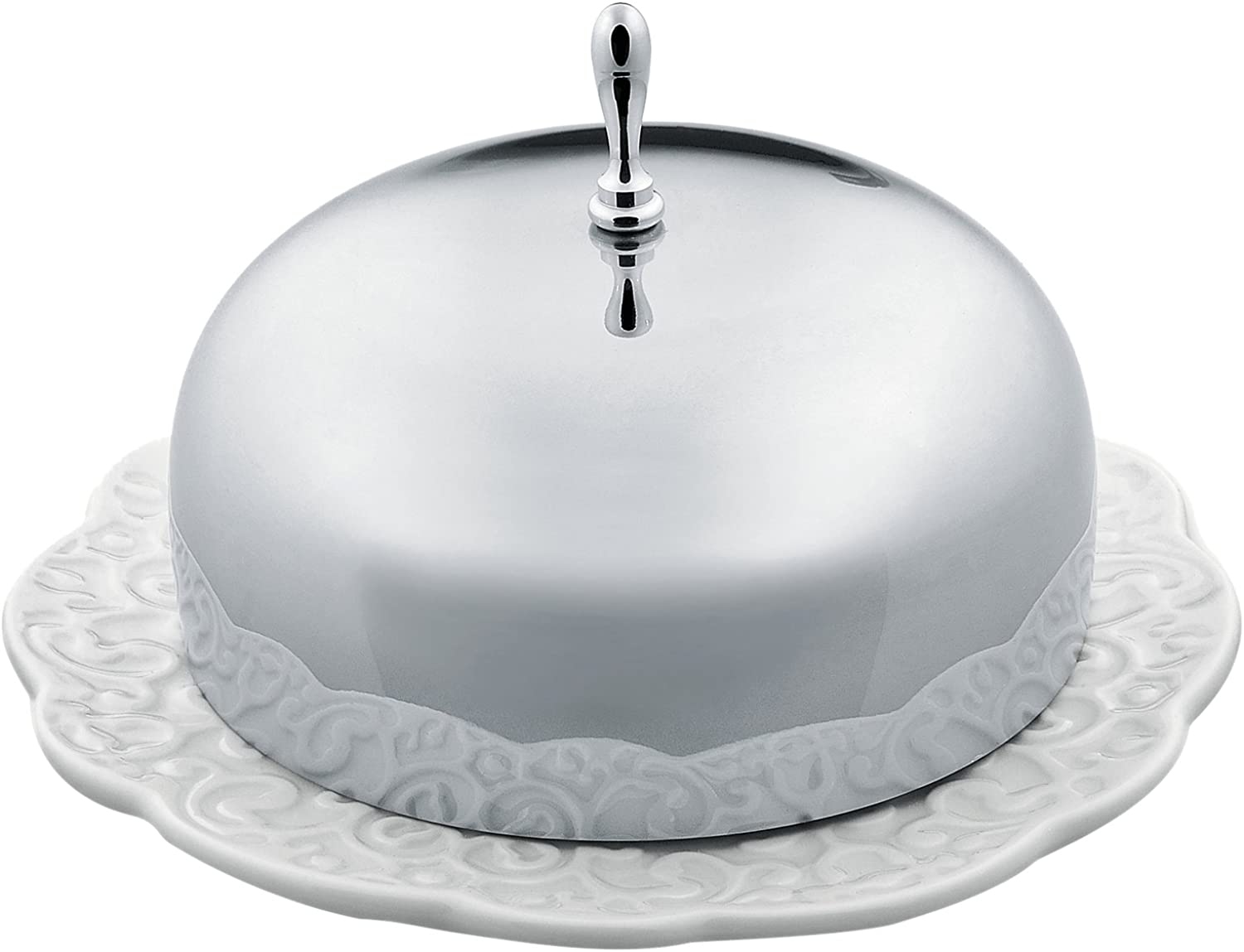 Alessi Dressed  Butter Dish in Porcelain With Lid in 18 10 Stainless Steel Mirror Polished, White