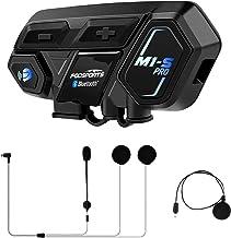 Fodsports M1-S Pro Intercomunicador Casco Moto, Impermeable Intercom Casco Moto para 8 Motoristas, Moto Bluetooth Comunicador con 2000M, Comando de Voz, Manos Libres, música estéreo (1 Pack)