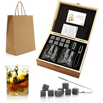 Set de regalo de Whisky Stones and Glasses, Whiskey Rocks Chilling Stones en una caja de madera hecha a mano: Amazon.es: Electrónica
