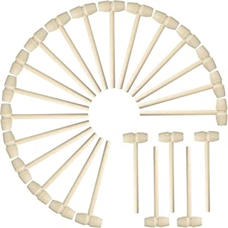 50 Pcs Mini Wooden Hammers Small Toy Pounding Mallets for Kids