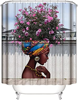 Muuyi Beautiful Flower Girl Art Shower Curtain for Shower Stall by, Woman Ethnic Themed Bathroom Decor Water Resistant Fabric Curtains, 72 x 72 Inches