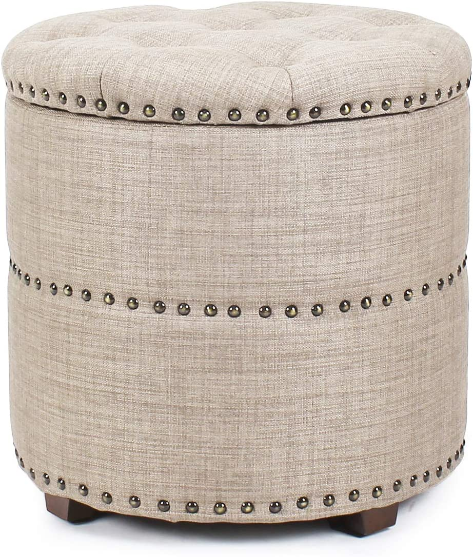 We OFFer at cheap prices Decent Home 18 inch Button Ottoman Upholste Round Storage Tufted Fresno Mall