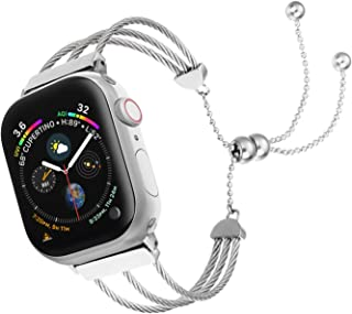 IMYMAX Compatible with Apple Watch Band Bracelets Women 38mm 40mm 42mm 44mm with Adjustable Bling Band Fashion Tassel Overall Stainless Steel Strings Wristband Strap for iWatch Series 5/4/3/2/1