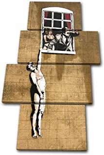 Bold Bloc Design - Banksy Street Window Lovers - 240x135cm Canvas Art Print Box Framed Picture Wall Hanging - Hand Made In The UK - Framed And Ready To Hang