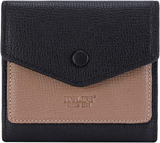 Women's Small Leather Wallet RFID Card Holder Mini Bifold Ladies Flat Pocket Purse (Taiga Black&Khaki)