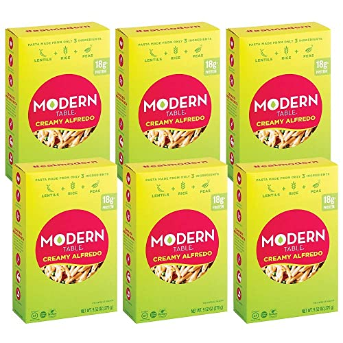 Modern Table Gluten Free, Complete Protein Lentil Pasta Meal Kit, Creamy Alfredo, 6 Count