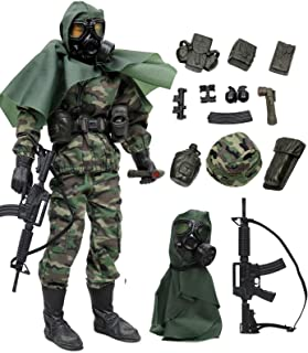 """Click N' Play Military Marine Nuclear Biological Chemical (NBC) Specialist 12"""" Action Figure Play Set with Accessories, Br..."""