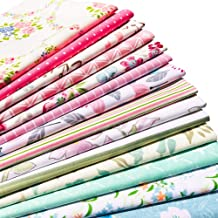 flic-flac 20 x 20 inches (51cmx51cm) Fat Quarter Natural Cotton Quilting Fabric Thick Craft Printed Fabric High Density Bundle Squares Patchwork Lint DIY Sewing (14pcs, Pattern A)