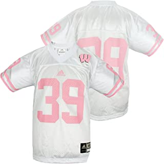 adidas NCAA Youth Wisconsin Badgers # 39 Football Jersey, White and Pink