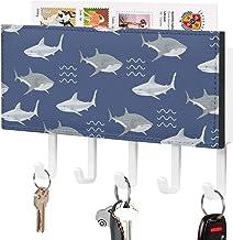 Crochet de clé fixé au mur, support mural de trieuse de courrier, organisateur de porte-clé de courrier, motif bleu de req...