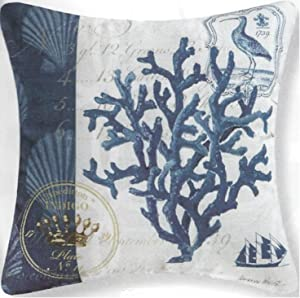 "GALLERIE II 18"" Blue and White Indigo Coral Reef Square Outdoor Throw Pillow - Down"