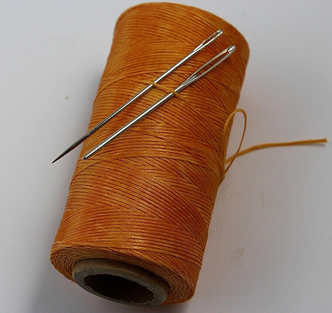 松の木真剣に誤CHENGYIDA YELLOW S040 レザークラフト 蝋引き 糸 ひも レザー/カンバス&2大目のニードル用の強力な縫合糸縫い糸