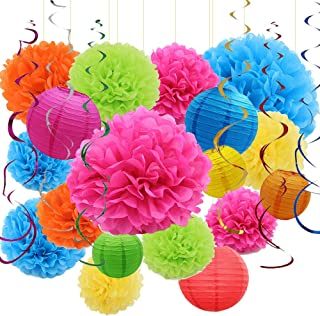 Sonnis 24pcs Paper Flower Pompom and Paper Lantern, Balloon for Birthday Wedding Christmas, Celebration, Nautical Themed Ball Party Decorations- Colorful