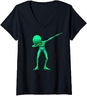Womens Dabbing Alien Dab UFO Lover Halloween Party Easy Costume   V-Neck T-Shirt