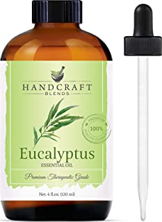 Handcraft Eucalyptus Essential Oil - Huge 4 OZ - 100% Pure & Natural - Premium Therapeutic Grade with Premium Glass Dropper