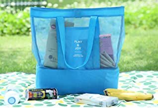 Fashion and High Quality Double Mesh Portable Lunch Bag Sports Storage Bag (Blue)