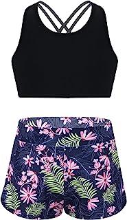 MSemis Kids Girls 2pcs Tankini Set Criss Cross Tank Top with Boyshorts Summer Beachwear Swimsuit