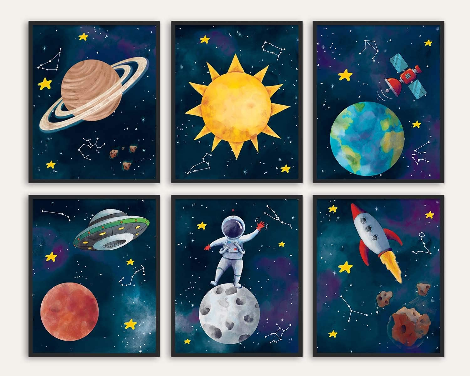 Outer Space Bedroom Custom Made Picture Frame Set Distressed-Nursery Vintage Ornate Gallery Wall Set Outer Space Decor Boy Room Decor