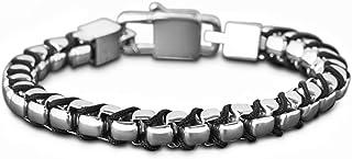 Steve Madden Stainless Steel Cord Box Chain Bracelet for Men