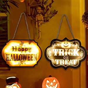 Glory Island 2 Pack Halloween Signs Lighted Trick or Treat Happy Halloween Decoration, Hanging Welcome Front Door Signs for Indoor Outdoor Wall Office Home Party