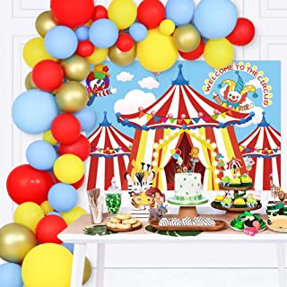 125 PCS Circus Party Decorations Set - Carnival Backdrop, Party Latex Balloon, Cupcake Topper Balloon Arch Supplies for Ca...