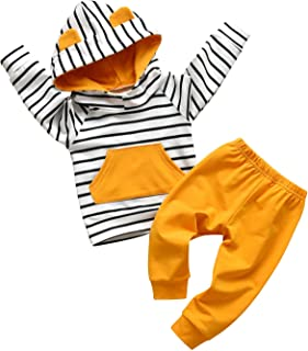 Toddler Infant Baby Boys Striped Long Sleeve Hoodie Tops Sweatsuit Pants Outfit Set