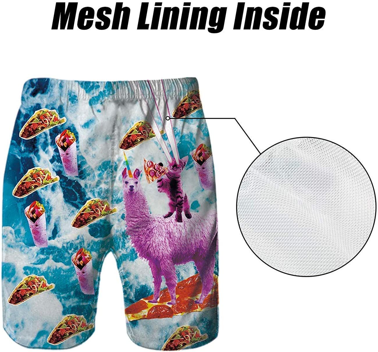 Idgreatim Mens Summer Swim Trunks 3D Graphic Quick Dry Funny Beach Board Shorts with Mesh Lining