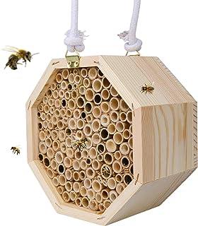 "Hooqict Wooden Mason Bee House, Handmade Natural Hanging Bamboo Bee Hive, Bee Hotel Garden (6"" × 6"" × 3.5"")"