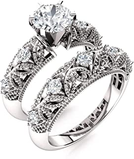 Natural and GIA Certified Diamond Engagement Ring Set in 14K White Gold   0.86 Carat Vintage Style Double Wedding Ring Sets, US Size 6.5