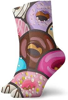 Novelty Funny Crazy Crew Sock Tasty Glazed Donuts Printed Sport Athletic Socks 30cm Long Personalized Tube Socks Gift Socks