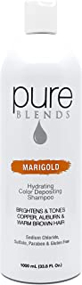 Pure Blends Hydrating Color Depositing Shampoo - Marigold (Copper, Auburn, and Warm Brown Hair) 33.8 Ounce - Salon Quality