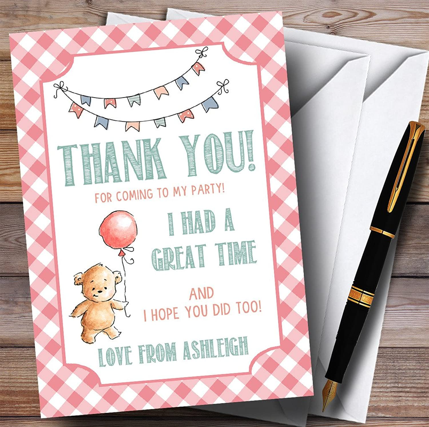 Girls Pink Teddy Bear Picnic Party Thank You Cards