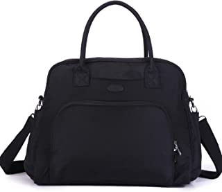 Lily & Drew Carry On Weekender Overnight Travel Shoulder Bag for 15.6 Inch Laptop Computers for Women (Black V2)