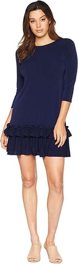 Solid 3/4 Sleeve Moss Crepe Ruffle Hem Dress