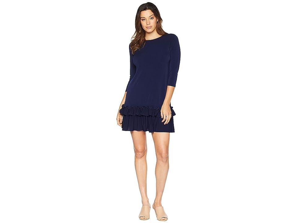 eci Solid 3/4 Sleeve Moss Crepe Ruffle Hem Dress (Navy) Women