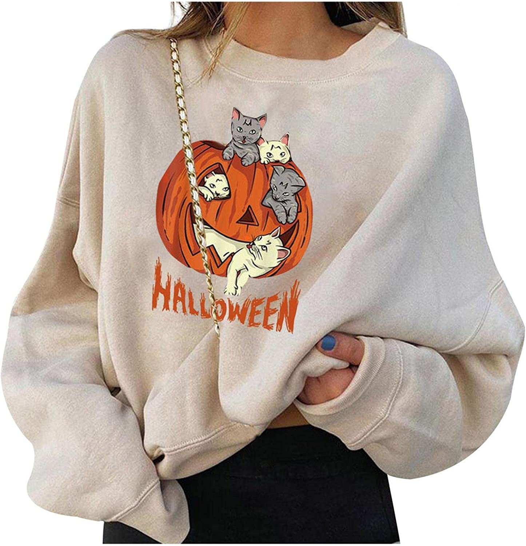 AODONG Sweatshirt for Women, Womens Pullover Sweatshirts Oversized Funny Halloween Pumpkin Skull Printed Long Sleeve Shirts