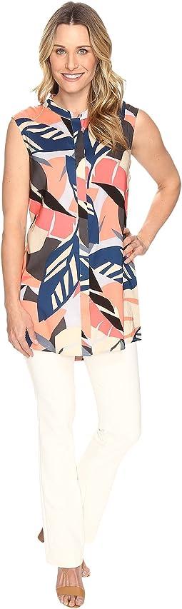Sleeveless Modern Tropics Button Up Tunic