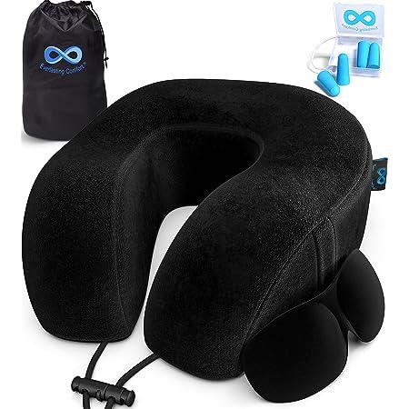 Everlasting Comfort Memory Foam Travel Pillow - Airplane Neck Rest & Plane Accessories (Black)