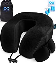 Everlasting Comfort Travel Pillow - Memory Foam Travel Neck Pillow - Airplane Pillow Accessories - Traveling Neck Rest for Plane (Black)