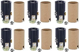Creative Hobbies 10025 Candelabra Base Keyless Phenolic Socket, 1-1/2 Inch High Overall, 1/8 IP Female Mounting Bracket, Pack of 6