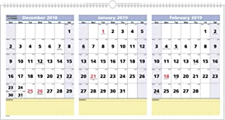 AT-A-GLANCE 2019 Wall Calendar, 3-Month Display, QuickNotes, 23-1/2