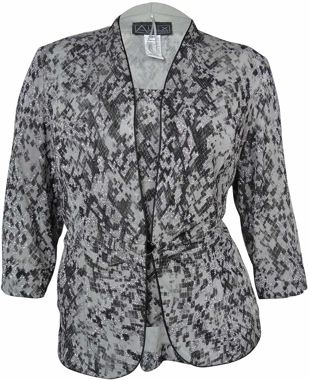 ALEX EVENINGS Black Grey Printed Shimmer Women's Large Twinset Jacket