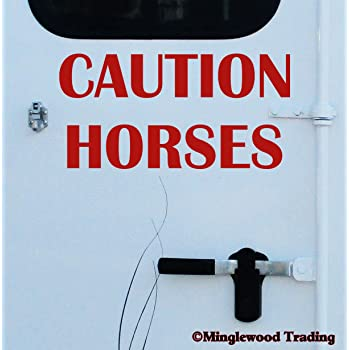 "Minglewood Trading Caution Horses 20"" x 10"" RED Vinyl Decal Sticker - Horse Trailer Show"