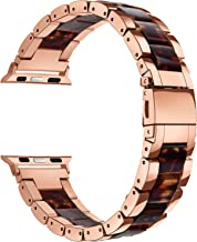 V-MORO Resin Bands Compatible Apple Watch Bands 38mm 40mm iWatch Women Series 4/3/2/1, Luxury Metal Stainless Steel Metal Wristband Bracelet Strap (Tortoise/Rose Gold, 38mm)