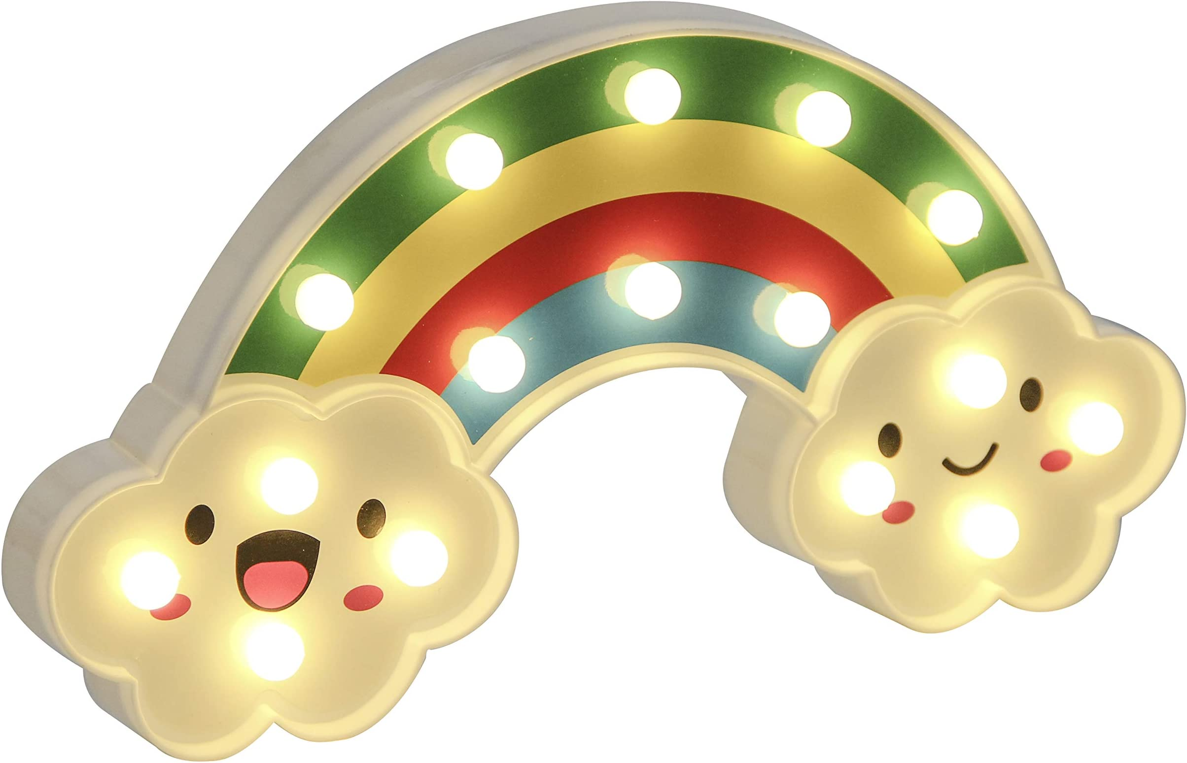 RECUTMS LED Light Night Lights Battery Operated Decorative Signs Rainbow LED Lamp Wall Decoration for Living Room,Bedroom,Home,Party,Christmas Kids Toys(Rainbow)