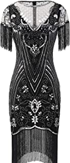 FAIRY COUPLE Women's 1920s Lace Neck Great Gatsby Dress Sequin Art Deco Flapper Dress with Sleeve D20S028