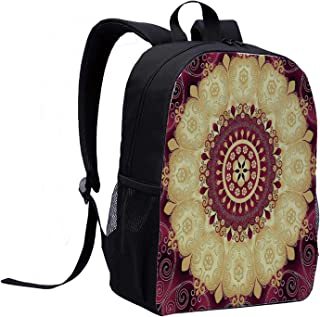 Purple Mandala Individual Backpack,Ethnic Pattern with Baroque Victorian Featured Old Fashion Effects Artwork for School,12″L x 5″W x 17″H